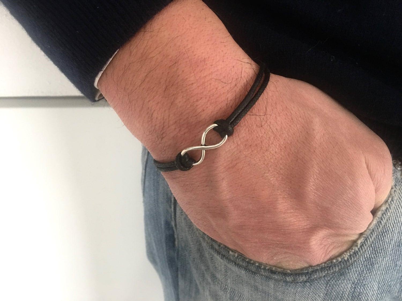 Men\u2019s Unisex Braided blacker LeatherLike Bracelet Punk Funk Rock Jewelry Black