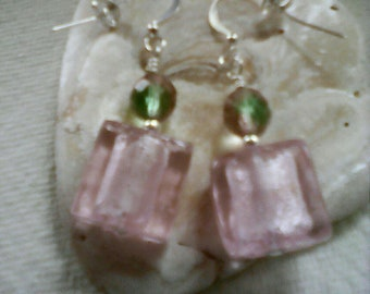 Pink Glass Square Earrings, Sterling Silver Flathook Wires