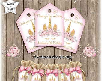 Magical floral gold Unicorn personalised birthday party thank you tags x 12