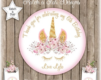 Magical floral gold Unicorn personalised round gloss birthday party stickers x 12