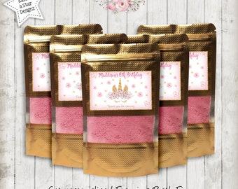 Magical floral gold unicorn birthday personalised foaming bath fizz x 6