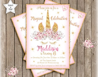 Magical floral gold Unicorn personalised birthday party invitation x 1