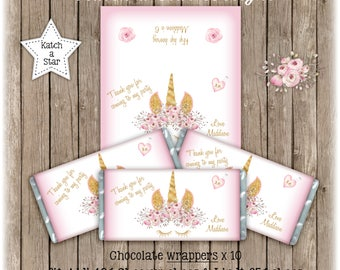 Magical floral gold Unicorn personalised birthday party chocolate wrappers x 10