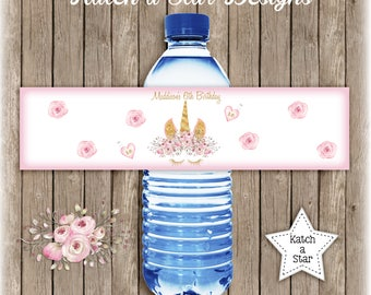 Magical floral gold Unicorn personalised birthday party water bottle labels x 5