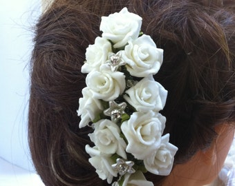 Wedding/ Hair/Bouquet Of Roses/Hair Comb/Bridal/Bride/Bridesmade/Holly Communion