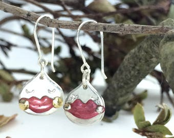 Pouty mouth dangle earrings Unique Japanese jewelry