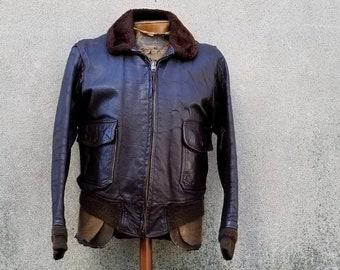 2f038854bf2 Vintage 1950s 1960s Korea Vietnam Era G1 United States Navy Leather Flight  Jacket