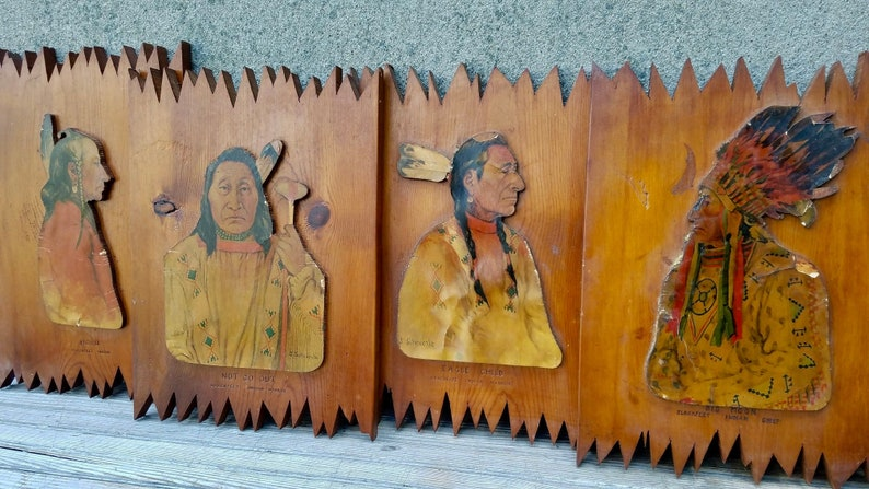 Vintage Set of 8 Native American First Nation Blackfoot Indian Tribe  Western Souvenir Presentation Plaques Joseph Scheuerle