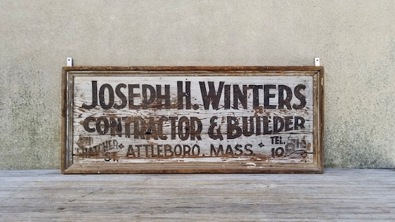 Advertising Antique Wood Builder And Hand Trade Sign Painted Contractor IH2eWEYbD9
