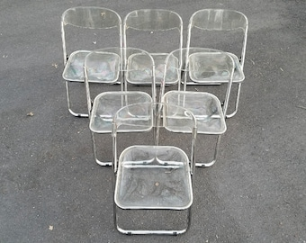 Set of Six Vintage Mid Century Modern Italian Chrome and Lucite Folding Chairs
