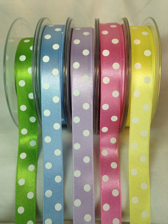 15mm Spotty//Dotty//Polka Dot Grosgrain Ribbon-3 Metres-Berisfords-Printed Ribbon