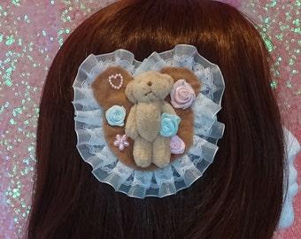 Beautiful Rose Field Bear Kawaii Sweet Lolita Two Way Brooch and Hair Clip