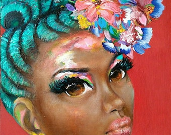 """As I AM"""" Abstract Portrait Painting by Salkis RE"""