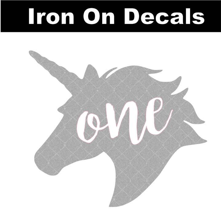 Unicorn One Birthday Decal Glitter Non-Glitter Iron On