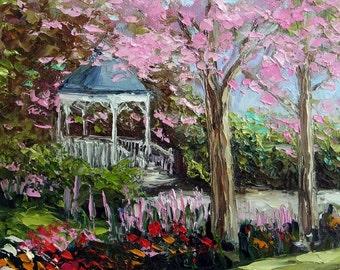 Landscape Pink Tree Flower Garden Gazebo Kinkade Style Oil Painting Palette Knife Original Small Canvas Art Ready to Hang
