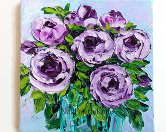 Purple Rose Small Oil Painting Canvas Art Flower Floral Still Life Cottage Chic Textured Palette Knife Impasto For Her 8x8