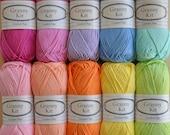 Cotton Yarns 10 colours Granny Kit Ready to ship by CrochetObjet