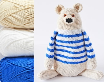 Benji The Bear KIT, 3 cotton balls + a black yarn + a PDF pattern, DIY kit ready to ship by CrochetObjet