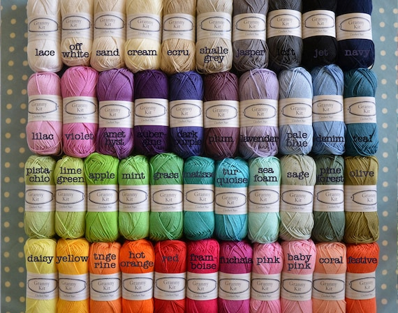Cotton Yarns 1 Ball Choose 1 colour 100% Cotton Yarn Granny Kit Yarn Ready to ship by CrochetObjet