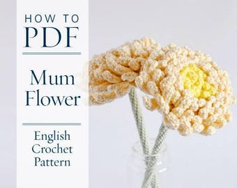Chrysanthemum Flower, DIY PDF English Crochet Pattern, US terms - ready for immediate download - by CrochetObjet
