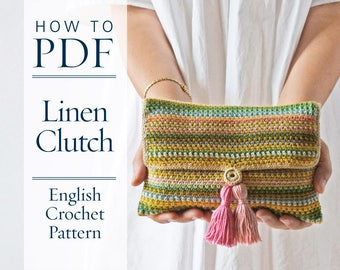 Linen Clutch, DIY PDF English Crochet Pattern, US terms - ready for immediate download - by CrochetObjet