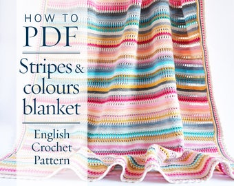 Crochet Pattern, Stripes & Colours Blanket PDF Pattern written in US terms, ready to download by CrochetObjet