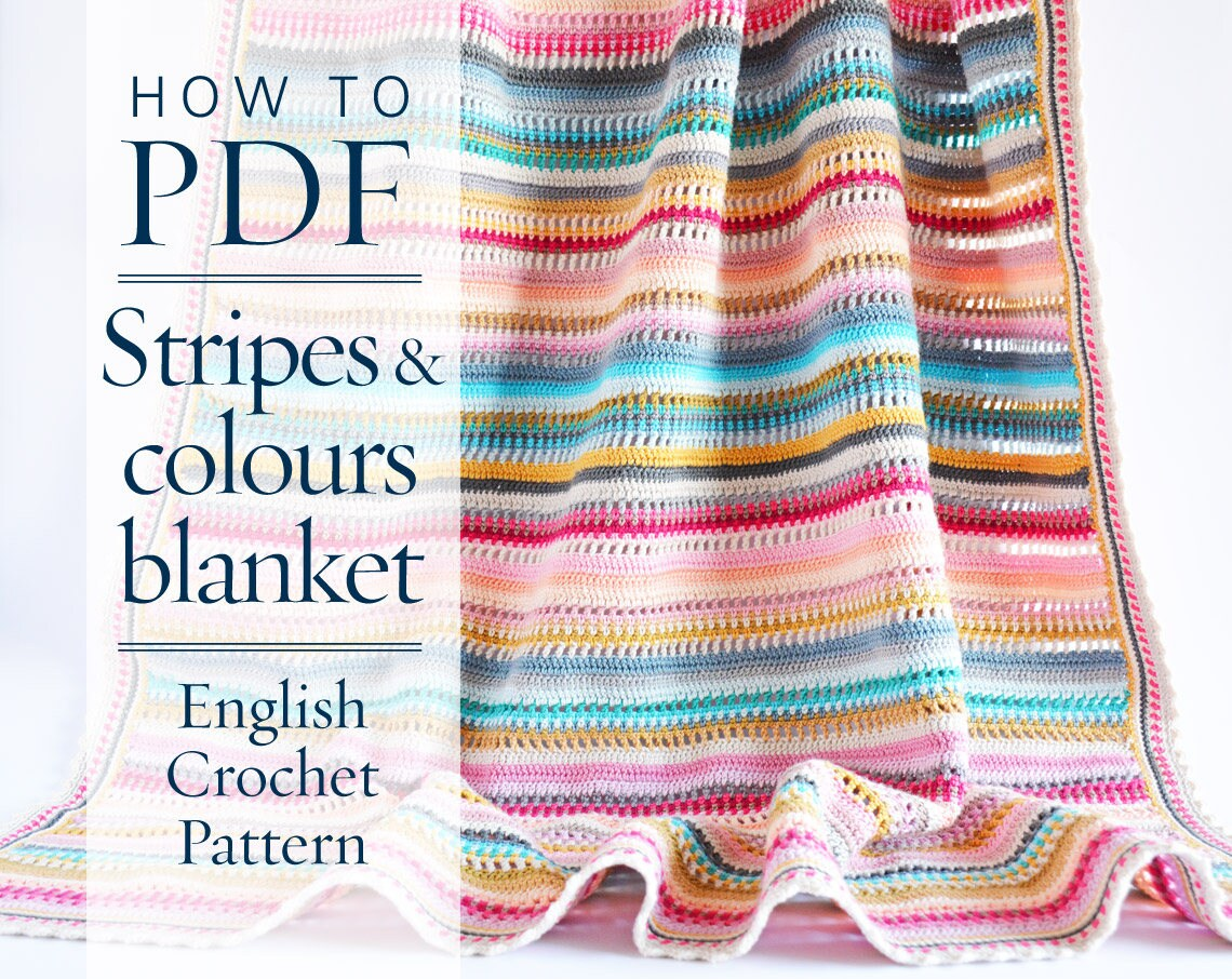Crochet Pattern Stripes Colours Blanket Pdf Pattern Written Etsy