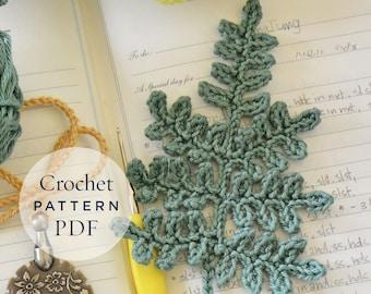 Fern Leaf Crochet Pattern step by step US terms DIY pattern ready for download by CrochetObjet