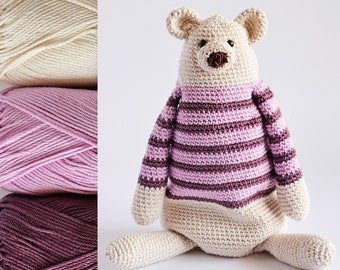 Benji The Bear KIT, 3 cotton balls + a brown yarn + a PDF pattern, DIY kit ready to ship by CrochetObjet