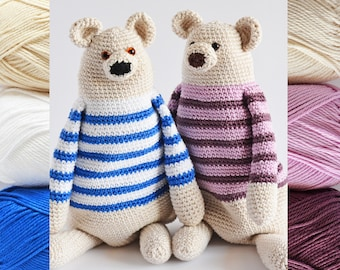 Benji The Bear, KIT for 2 bears, 6 cotton balls + a black & brown yarn + a PDF pattern, DIY kit ready to ship by CrochetObjet