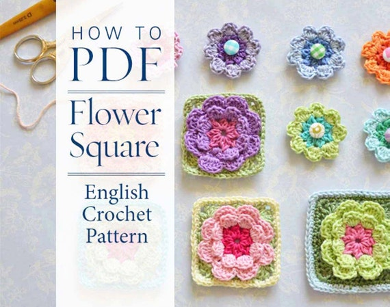 Crochet Pattern Flower Square Pattern Ready For Immediate Etsy