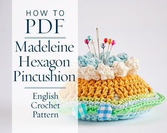 Crochet Pattern, Madeleine Hexagon Pincushion Pattern - ready for immediate download - by CrochetObjet