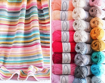 Crochet Blanket Kit, Stripes and Colours blanket kit, 24 cotton balls + A pattern