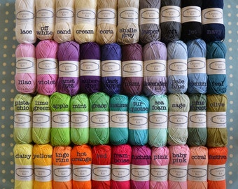 Choose 10 Colours, Cotton Yarns, 10 Balls Ready to ship by CrochetObjet