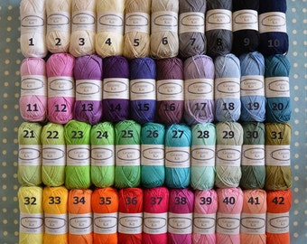 Cotton Yarn, Choose any 20 Colours You Like, Ready to ship by CrochetObjet
