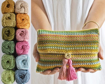 Linen Clutch KIT, 12 cotton balls + a PDF pattern, DIY kit ready to ship by CrochetObjet