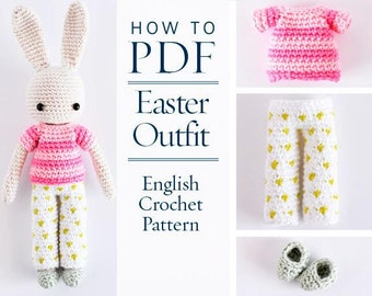 crochet pattern,Easter special,Cosy Easter Outfit for Angie Bunny, amigurumi, step by step DIY pattern ready to download by CrochetObjet
