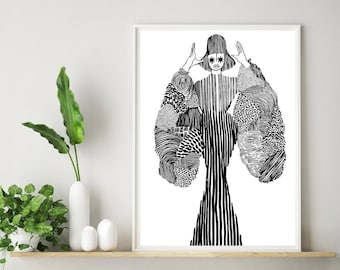 Delicately Rooted (pt 3) - Art Print - Black Art - African - Afrocentric - Monochrome Art - Black Heritage - Black Woman - Limited Edition