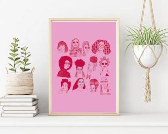 Babes of Summer Black Art Print - Black Girl Art - Natural Hair Art - Illustration