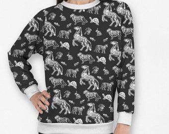 Animal Skeleton Sweater | Vet Tech Cozy Sweater | Pull Over Sweater | Skeleton Top | Veterinary Technician | Animal Lover Gift | Mall Goth
