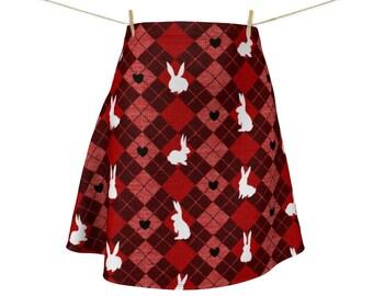 Red Argyle White Rabbit Skirt | Bunny Skirt | Kawaii Bunny Dress Skirt | Buffalo Plaid | Plaid Clothing | Bunny Mom Gift | Bunny Lover Gift