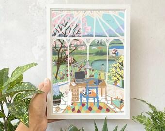 Homestead Studio Art Print | Office Art | Gardener Art | Crazy Plant Lady | Farmhouse Cottage | Bunny Rabbit Lover Wall Art | Bunny Mom Gift
