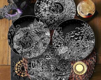 Halloween Nights Serving Plates Set | Autumn Dinnerware | Elegant Halloween Home Decor | Dark Cottagecore | Wicca Alter Plate | Witchy Gifts