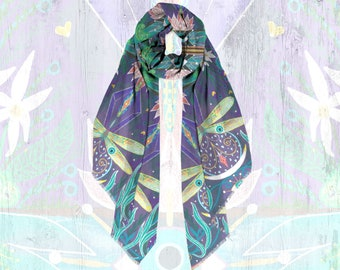 Waters of Fortune Modal Scarf | Luxury Designer Scarf for Women | Oversized Scarf Wrap | Light Head Scarf | Cottagecore Floral Art Scarf