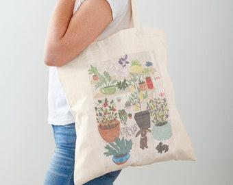 Bunny Garden Reusable Market Bag | Farmhouse Tote Bag | Cute Produce Bags | Bunny Lover Gift | Plant Mom | Gardening Gifts | Bunny Tote Bag