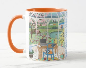 Homestead Artist Studio Mug | Farmhouse Mug | Cute Bunny Mom Gifts | Rabbit Lover Gift | Plant Mom | Gardener Mugs | Crazy Plant Lady Gifts