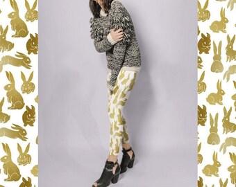 Golden Bunny Leggings | Bunny Lover Gift | Bunny Mom Gift | Rabbit Leggings | Rabbit Print | Kawaii Bunny Clothing | Bunny Rabbit Leggings