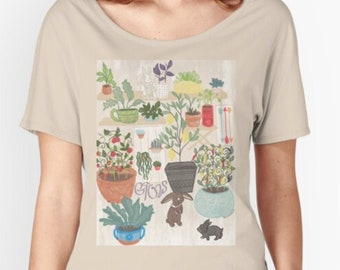 Bunny Garden Women's Relaxed T-Shirt | Bunny Tees | Rabbit T-Shirt | Bunny Lover Gift | Plant Mom | Cottagecore Clothing | Gardening Gifts