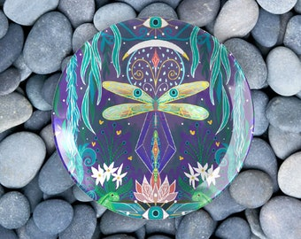 Waters of Fortune Glass Tray | Dragonfly Gifts | Alter Decor | Evil Eye Gift | Cottagecore Decor | Fae Gifts | Farmhouse Cottage Dinnerware