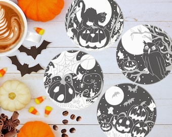 Cute Halloween Coaster Set | Halloween Home Decor | Dark Cottagecore Gift | Halloween Gifts | Witchy Gift | Autumn Coasters | Fall Tableware
